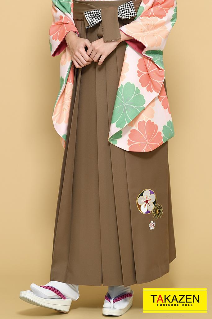 【卒業式袴レンタル/通販可】ゆるふわかわいい古典(パステルカラー) 白/オレンジ/グリーン(緑色) K21016