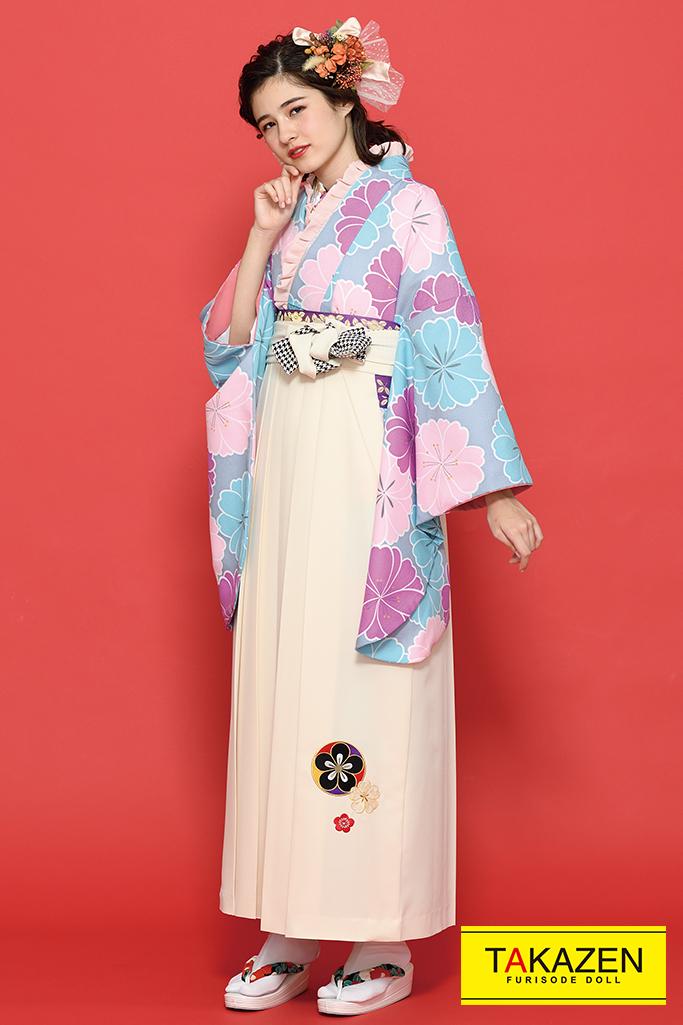 【卒業式袴レンタル/通販可】ゆるふわキュート古典(パステルカラー) 紫/ピンク/ブルー(水色) K21017