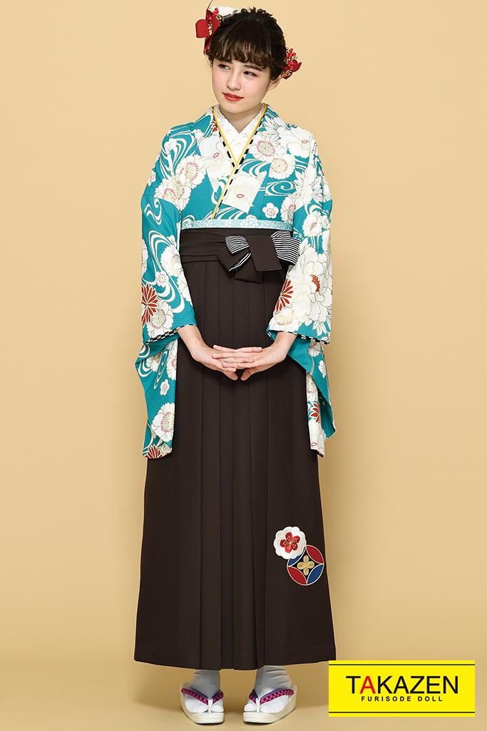 【卒業式袴レンタル/通販可】上品清楚古典(おしとやかな椿柄) 白/クリーム/ブルー(水色) K21018