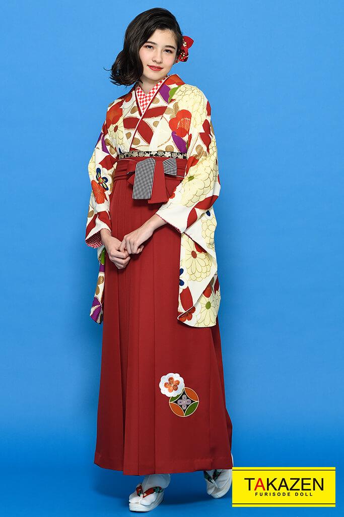 【卒業式袴レンタル/通販可】個性的かわいい古典(華やか菊柄) 白/赤/クリーム K21019