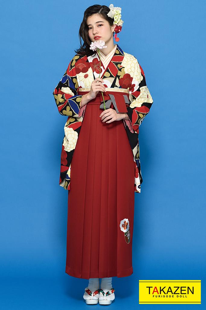 【卒業式袴レンタル/通販可】派手かわいい古典(豪華菊柄) 黒/白/赤/クリーム K21020