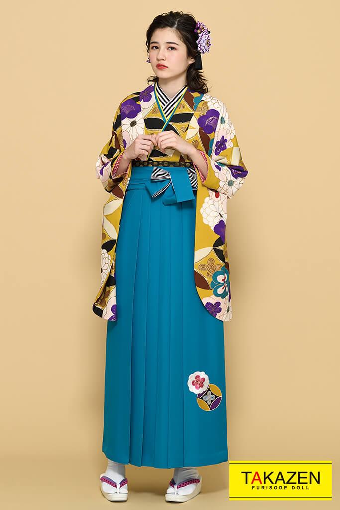 【卒業式袴レンタル/通販可】個性的目立つ古典(華やか古風) 紫/クリーム/カラシ K21022