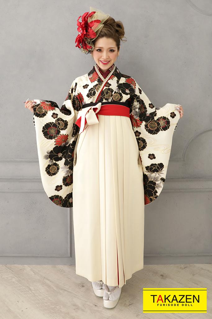 【卒業式袴レンタル/通販可】清楚大人っぽい古典(かっこいい) 白/黒/クリーム K21023