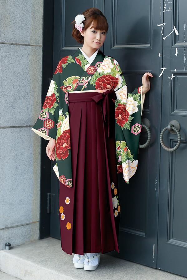 【卒業式袴レンタル/通販可】大人派手古典(可愛い花柄) 赤/グリーン(緑色) K30026