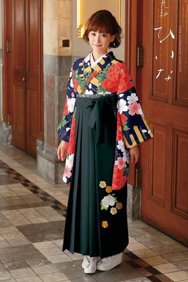 【卒業式袴レンタル/通販可】大人派手古典(可愛い花柄) 紺/オレンジ/グリーン(緑色) K30027