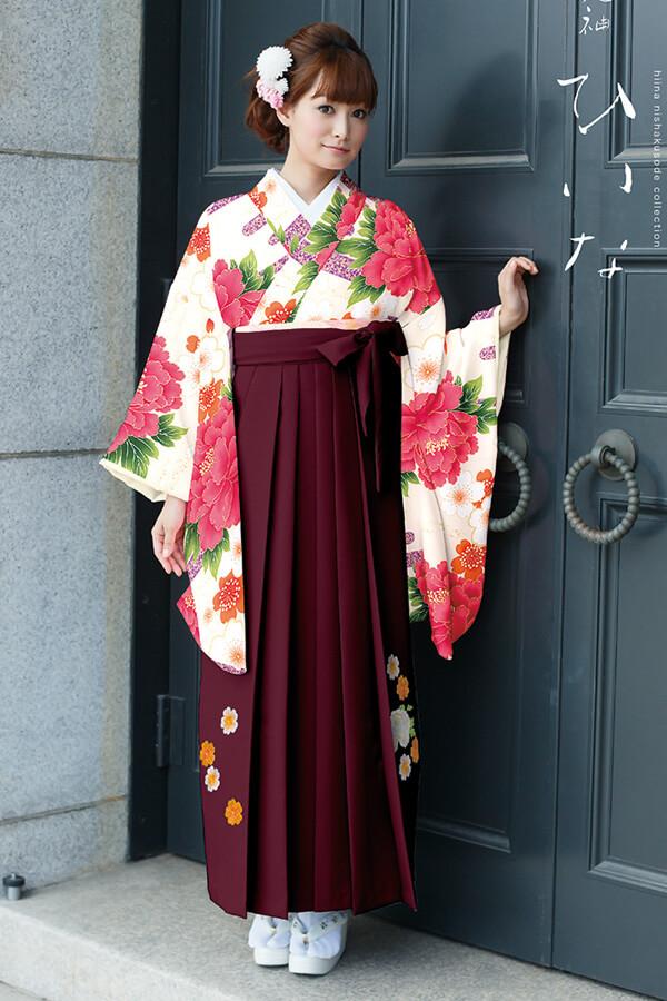 【卒業式袴レンタル/通販可】大人派手古典(可愛い花柄) 白/ピンク/赤 K30028
