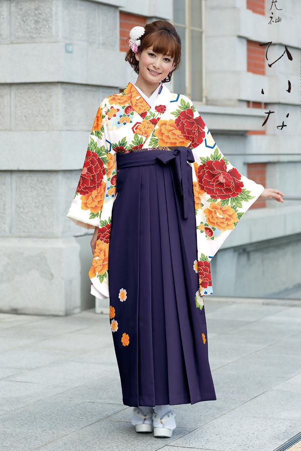 【卒業式袴レンタル/通販可】大人派手古典(可愛い花柄) 白/オレンジ/赤 K30030