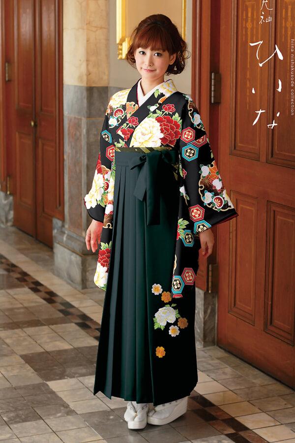 【卒業式袴レンタル/通販可】大人派手古典(可愛い花柄) 黒/赤/グリーン(緑色) K30031