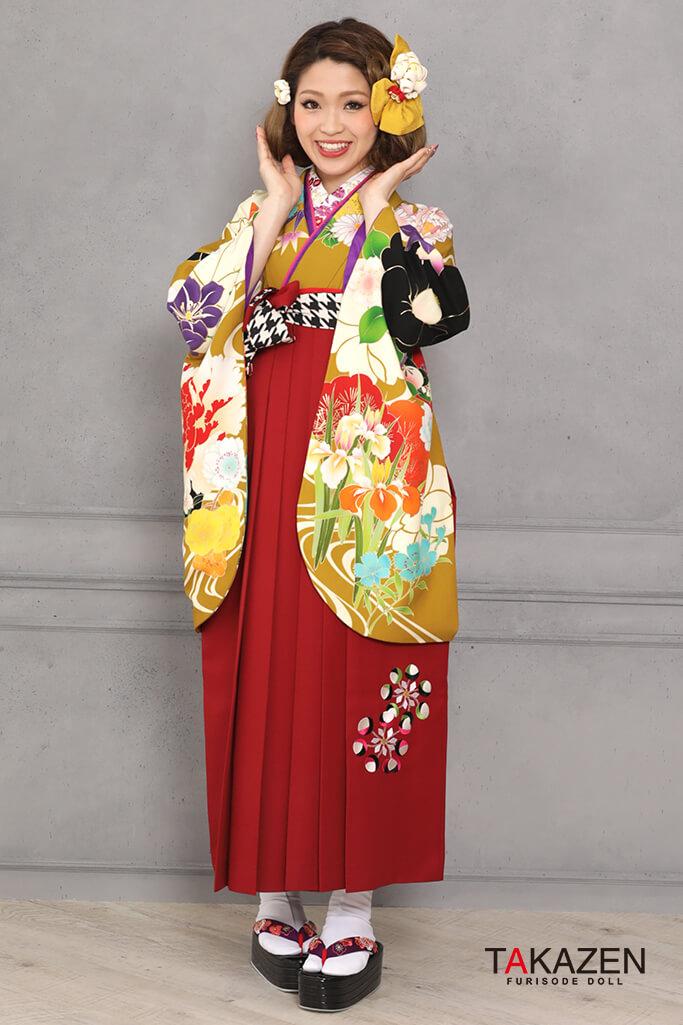 【卒業式袴レンタル/通販可】個性的レトロモダンちはやふる(可愛い古典風) からし/黄土色/黒 K31055