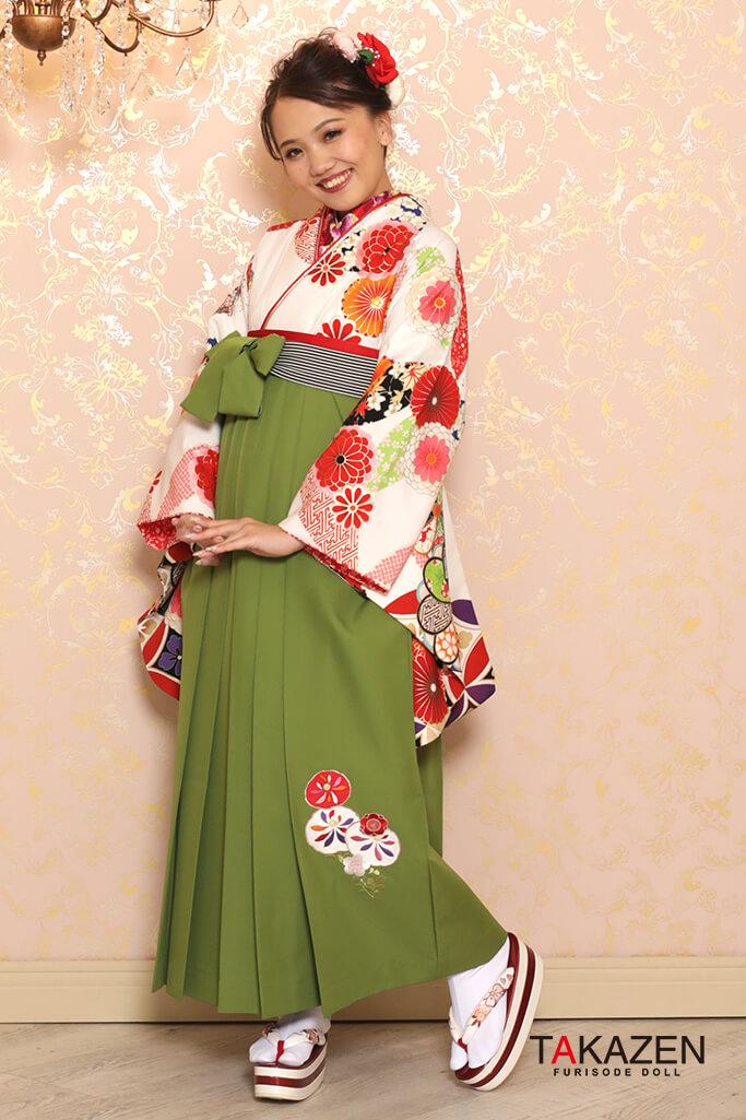 【卒業式袴レンタル/通販可】定番清楚古典(かわいい花柄) 白/エンジ K32025