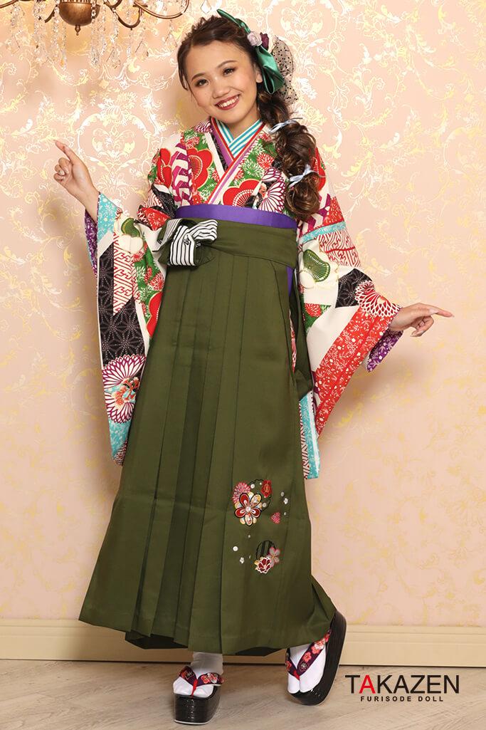 【卒業式袴レンタル/通販可】定番清楚古典(派手可愛い梅柄) 白/グリーン(緑色) K32027