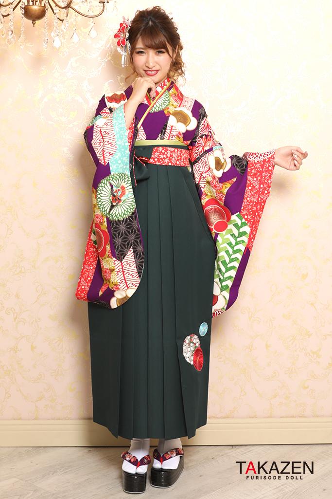 【卒業式袴レンタル/通販可】定番清楚古典(個性的ポップな梅柄) 白/紫 K32028