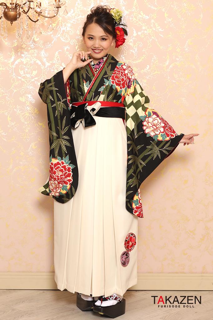 【卒業式袴レンタル/通販可】定番清楚古典(派手可愛いボタン柄) エンジ/グリーン(緑色) K32035