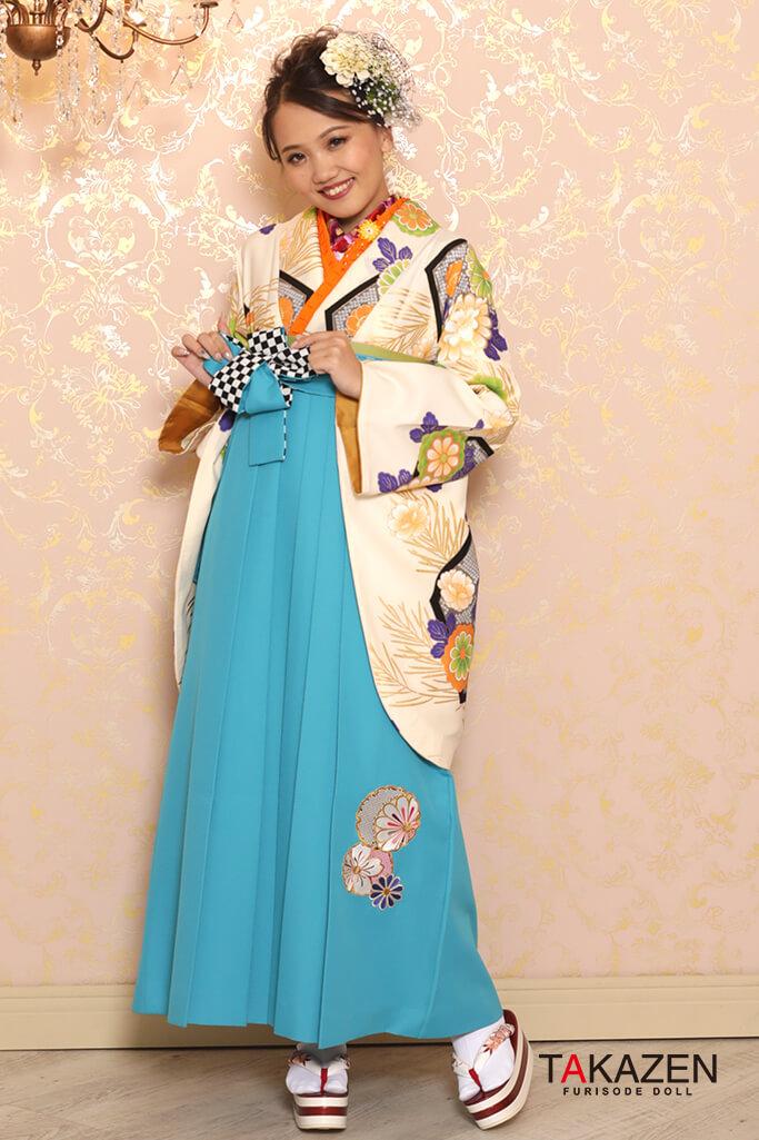 【卒業式袴レンタル/通販可】定番清楚古典(おしとやか可愛い) クリーム/グリーン(緑色) K32036