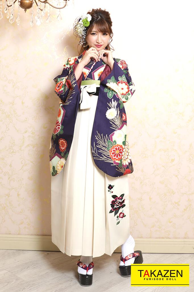 【卒業式袴レンタル/通販可】定番清楚古典(大人可愛い) 紺/紫/エンジ K32038