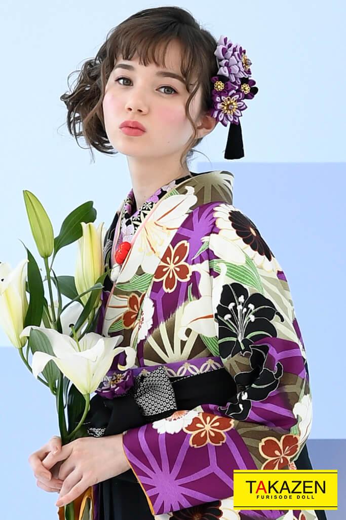 【卒業式袴レンタル/通販可】大人っぽい古典(おしとやか百合柄) 紫/黒/グリーン(緑色) K32039