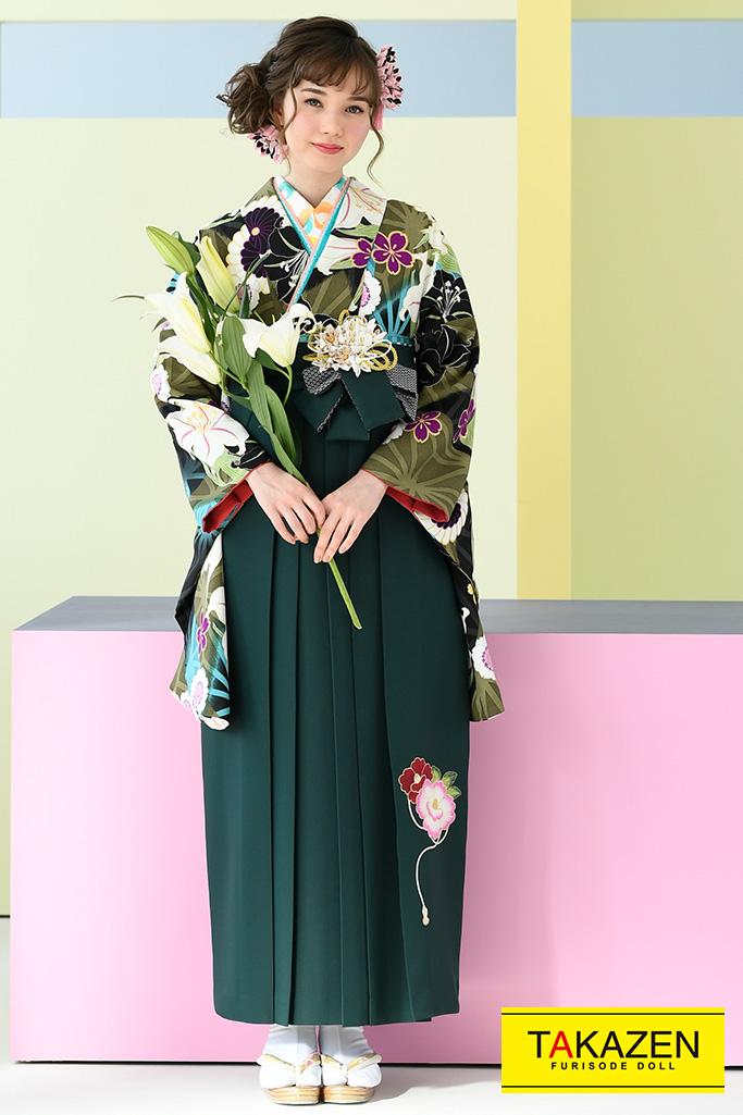 【卒業式袴レンタル/通販可】大人かわいい古典(おしゃれ百合柄) 黒/グリーン(緑色)/ブルー(水色) K32040