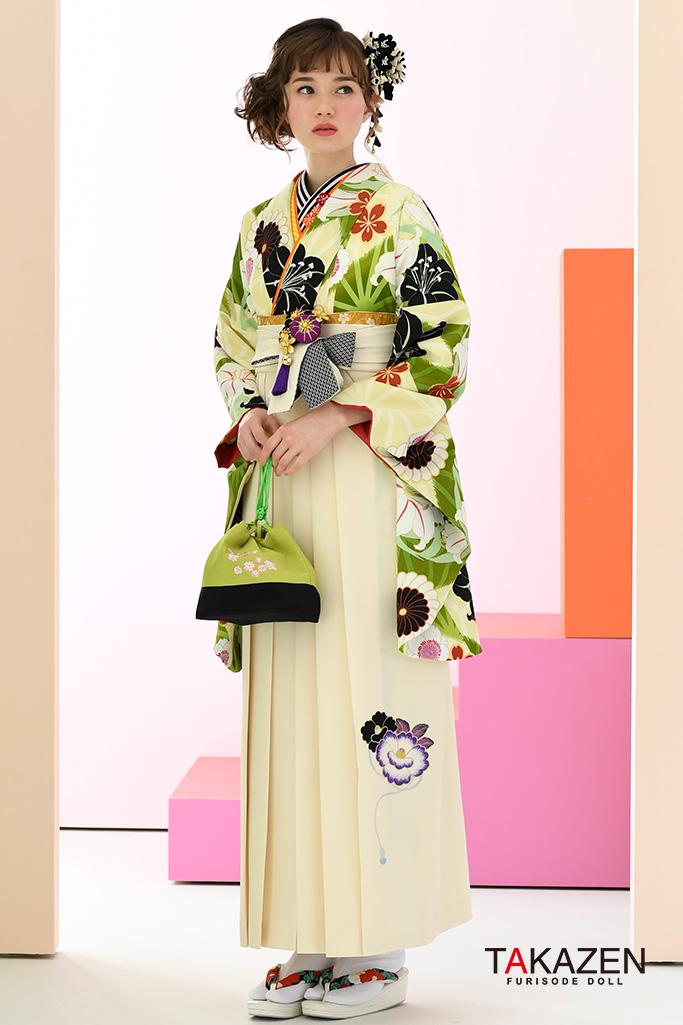 【卒業式袴レンタル/通販可】定番おしとやか古典(清楚な百合柄) 白/黒/グリーン(緑色) K32041