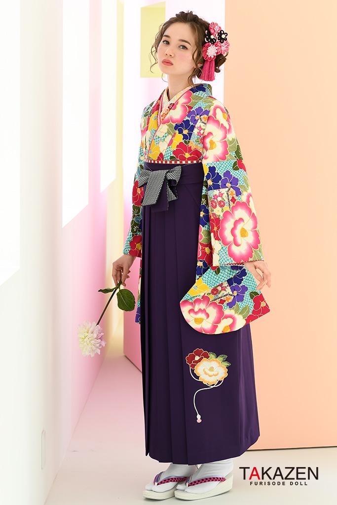【卒業式袴レンタル/通販可】清楚絞り古典(大人っぽいツバキ柄) 紫/ピンク/ブルー(水色) K32042
