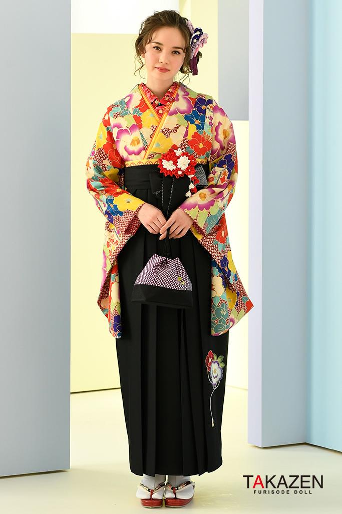【卒業式袴レンタル/通販可】おしゃれ目立つ古典(派手可愛い椿柄) 白/赤/ブルー(水色) K32043