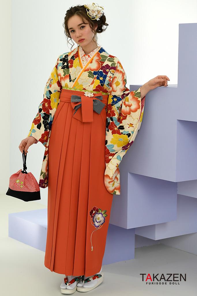【卒業式袴レンタル/通販可】派手目立つ古典(かわいい椿柄) 白/オレンジ/ブルー(水色) K32044