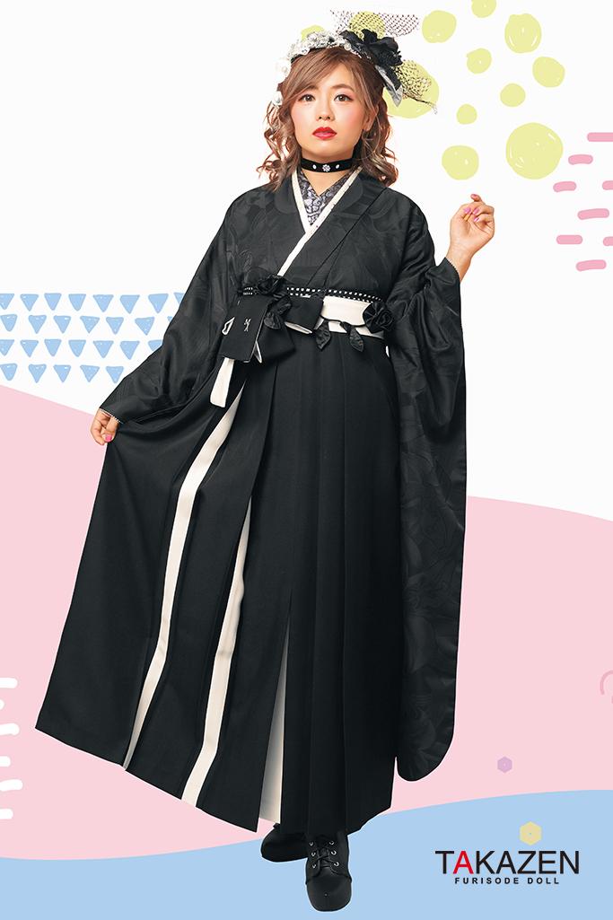 【卒業式袴レンタル/通販可】個性的無地レトロ(人と被らない‼) 黒無地 R21001