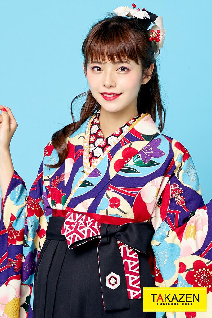 【卒業式袴レンタル/通販可】個性的レトロモダン(おしゃれ椿柄) 紫/赤/ブルー(水色) R21003