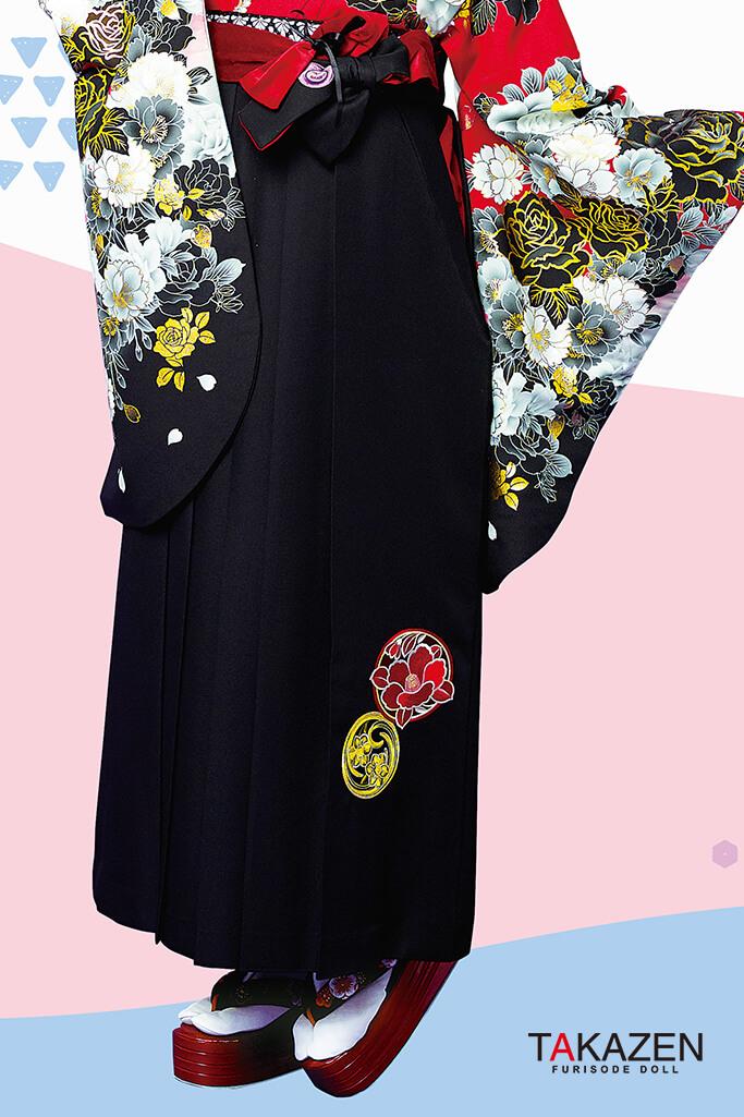 【卒業式袴レンタル/通販可】派手目立つかっこい(ゴージャス) 黒/赤 R21004