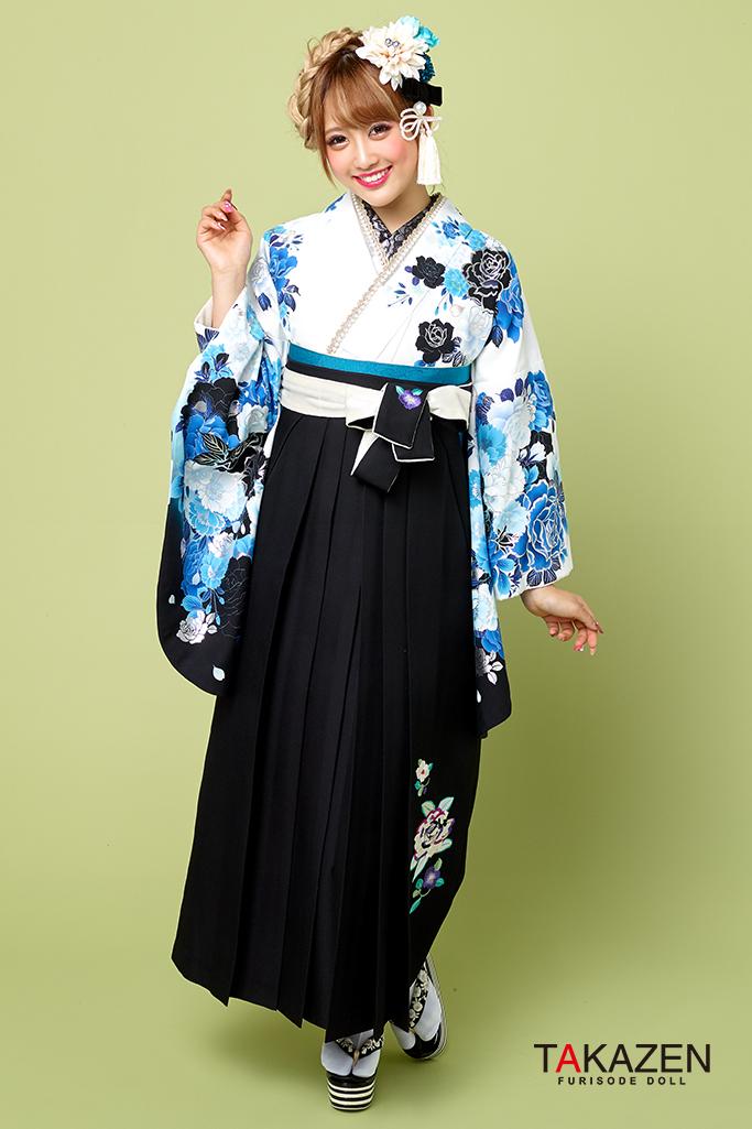 【卒業式袴レンタル/通販可】派手カッコイイ(クール) 白/ブルー(青色) R21005
