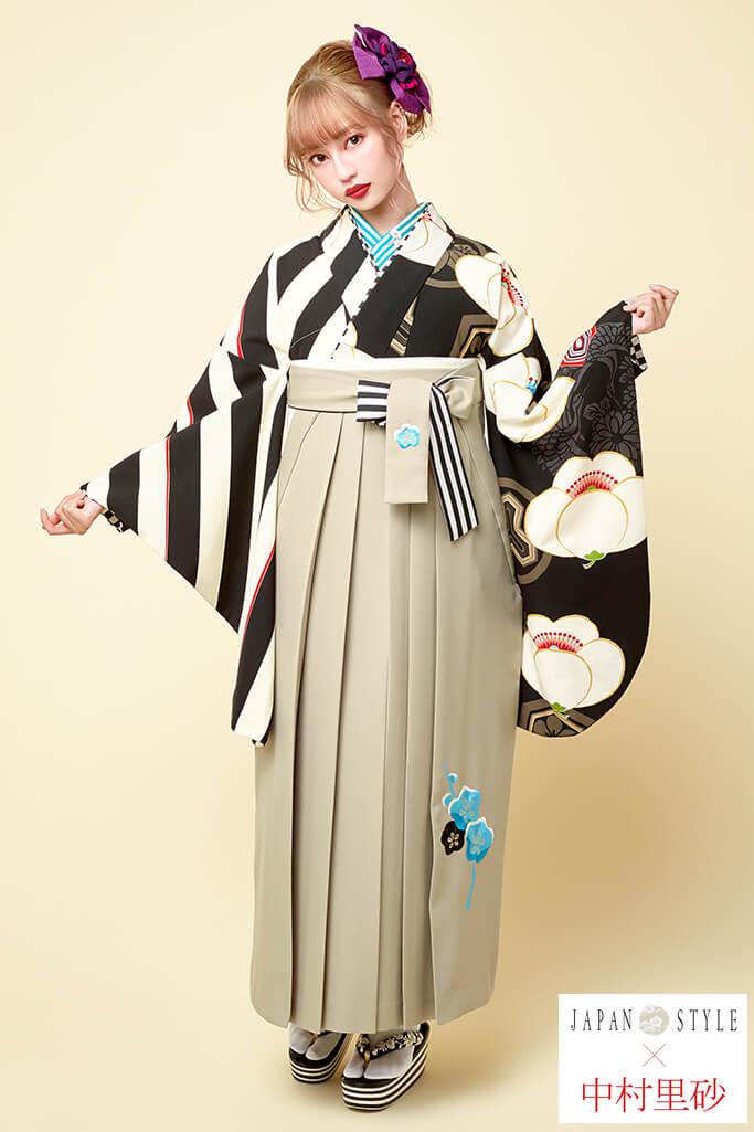 【卒業式袴レンタル/通販可】レトロモダン椿柄(大人っぽいストライプ) 白/クリーム/黒 R21024