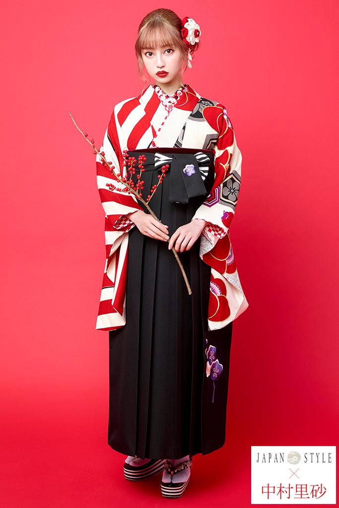 【卒業式袴レンタル/通販可】目立つレトロモダン椿柄(個性的ストライプ) 白/クリーム/赤 R21025