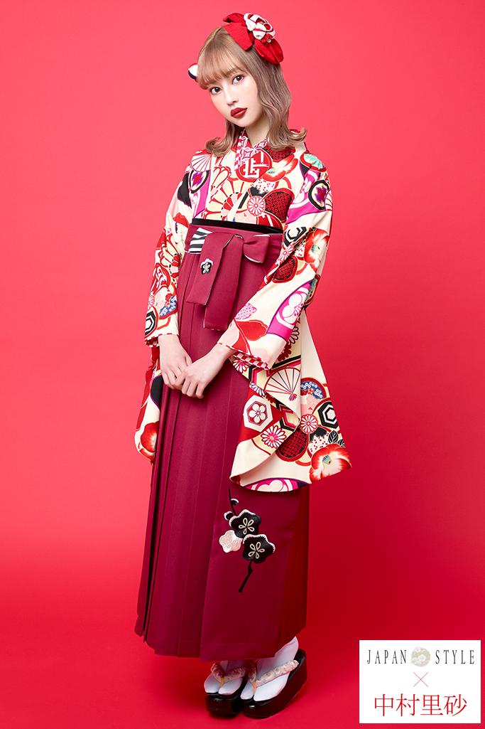 【卒業式袴レンタル/通販可】個性的レトロモダン(ポップな花柄) 白/クリーム/赤 R21026