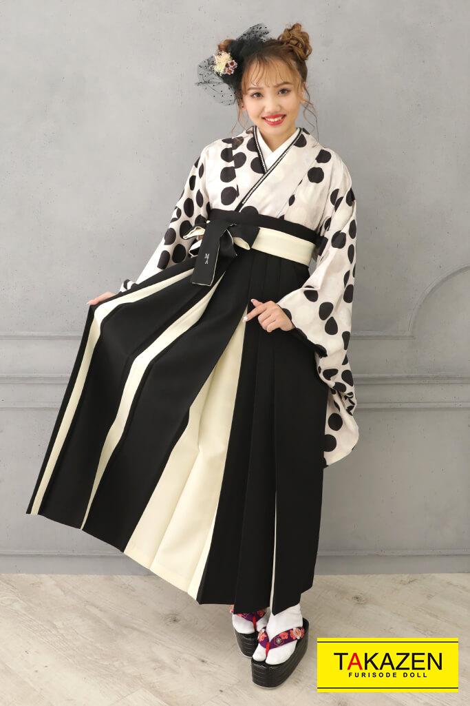 【卒業式袴レンタル/通販可】個性的モダンアンテナ(シンプルドット柄) 白/黒/シルバー(銀色) R21030