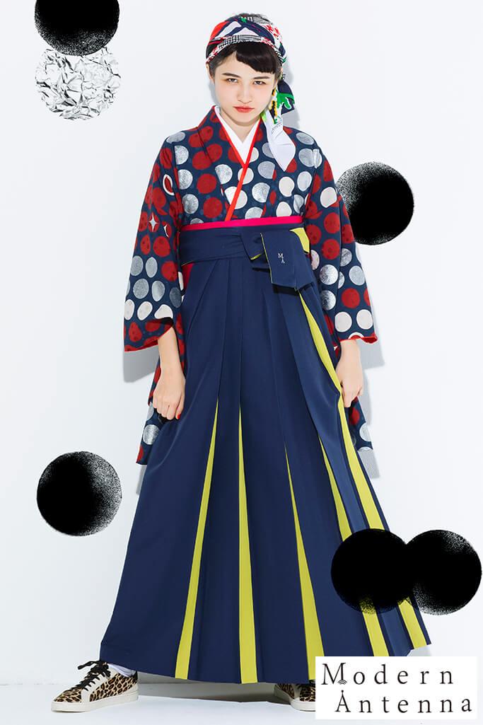 【卒業式袴レンタル/通販可】モダンアンテナ(個性的ドット柄) 紺/赤/シルバー(銀色) R21031