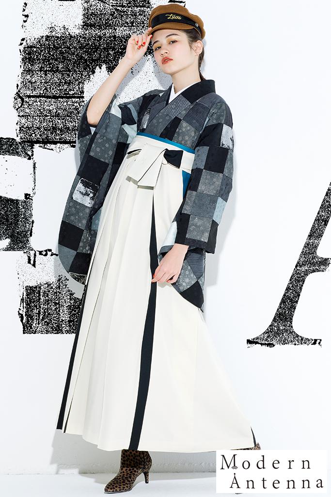 【卒業式袴レンタル/通販可】おしゃれモダンアンテナ(アンティーク) 黒/グレー R21032