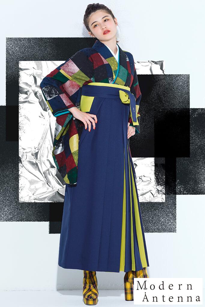 【卒業式袴レンタル/通販可】モダンアンテナ(おしゃれ大正ロマン) 紺/黄/エンジ R21033