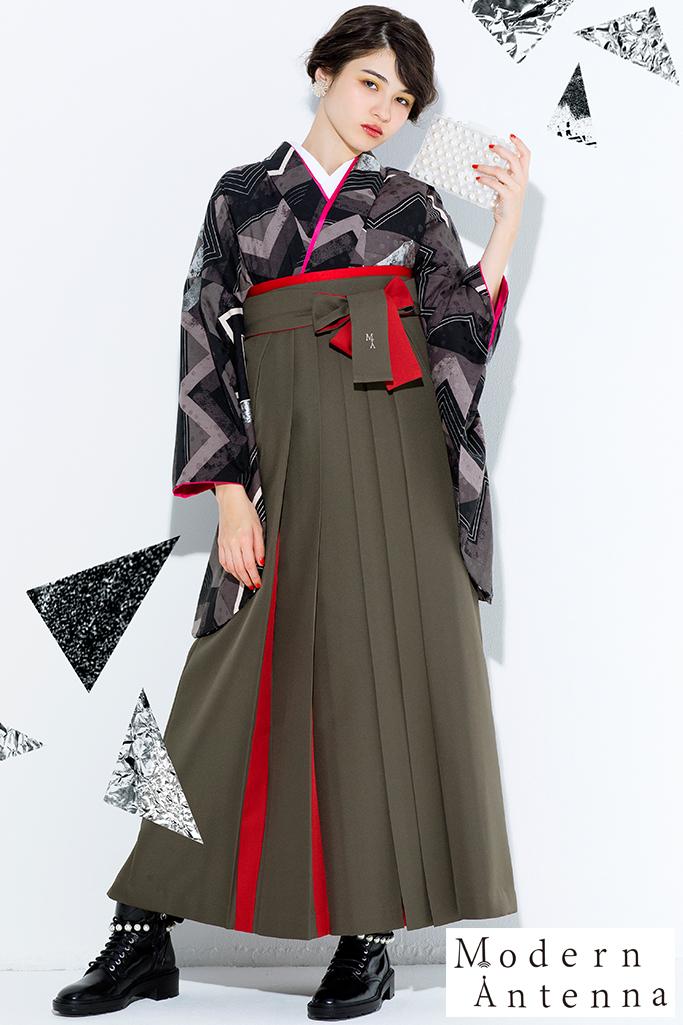 【卒業式袴レンタル/通販可】大人っぽいモダンアンテナ(個性的幾何学模様) 黒/グレー R21034
