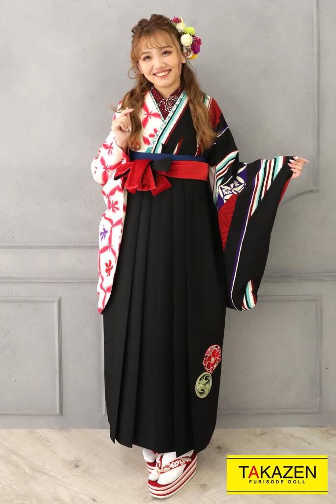 【卒業式袴レンタル/通販可】個性的和風レトロ(大正ロマン) 赤/黒/クリーム R21036