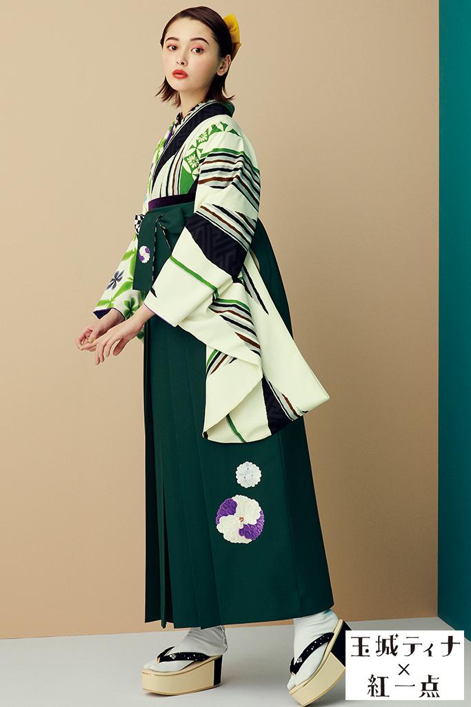 【卒業式袴レンタル/通販可】個性的おしゃれレトロ(モダン) 黒/クリーム/グリーン(緑色) R21037