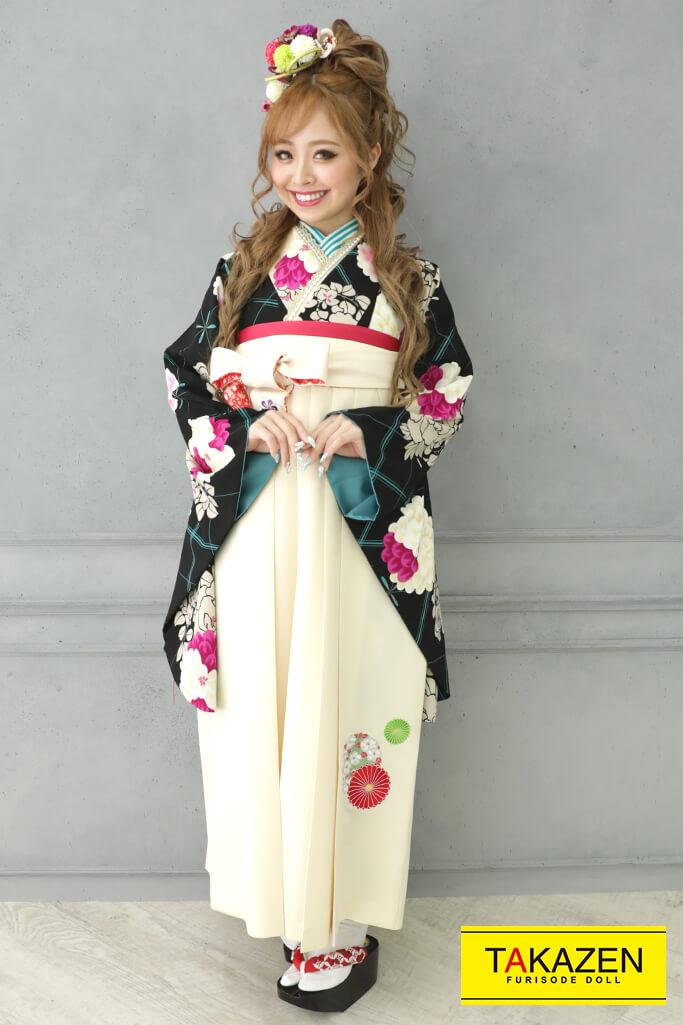 【卒業式袴レンタル/通販可】個性的レトロモダン(大人かわいい) 黒/紫/クリーム R21040