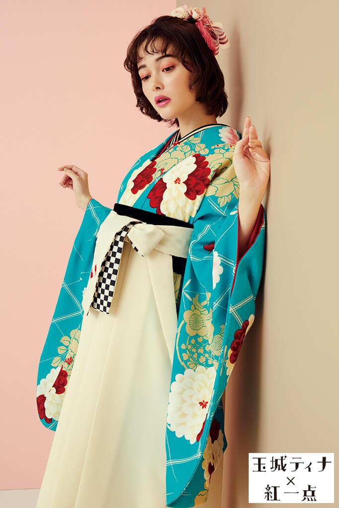 【卒業式袴レンタル/通販可】目立つレトロポップ(派手かわいい) 白/赤/ブルー(水色) R21041