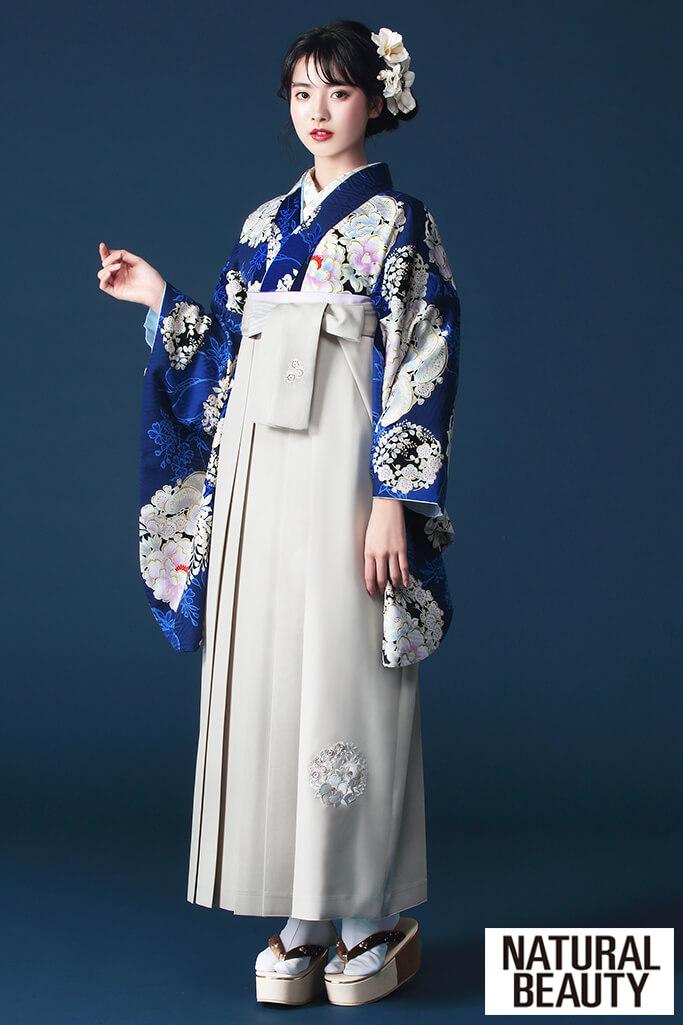 【卒業式袴レンタル/通販可】大人っぽいNATURAL BEAUTY(ナチュラルビューティー) グレー/ブルー(青色) R21042