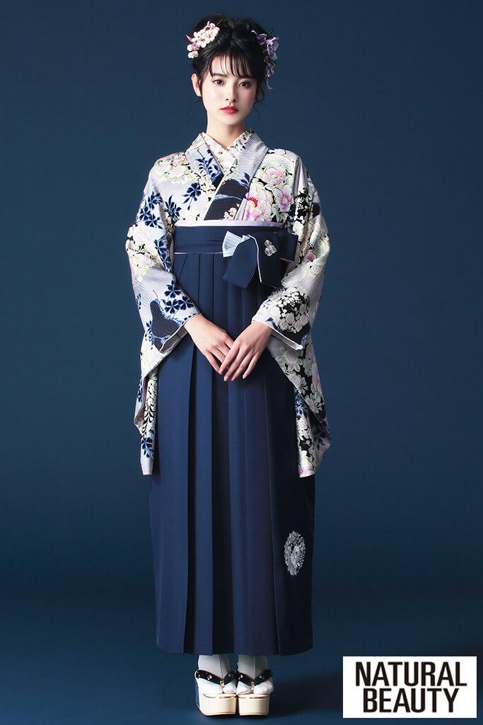 【卒業式袴レンタル/通販可】大人かわいいNATURAL BEAUTY(ナチュラルビューティー) グレー/ブルー(青色) R21043