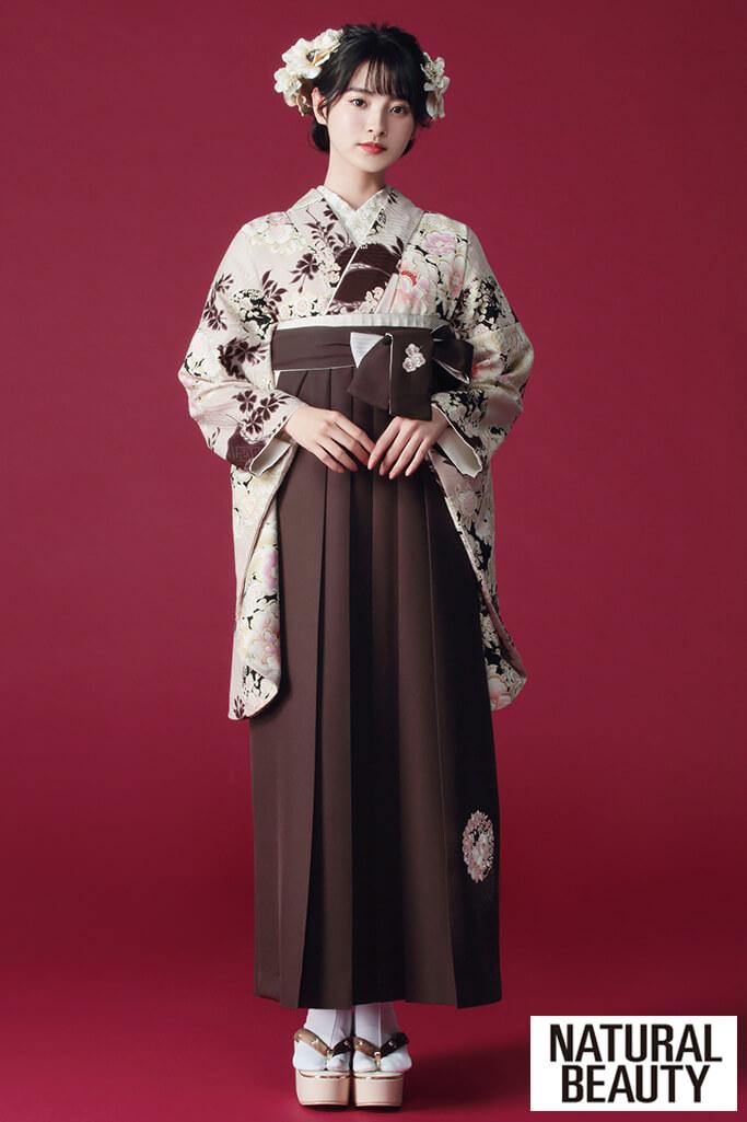 【卒業式袴レンタル/通販可】かわいいNATURAL BEAUTY(ナチュラルビューティー) 茶/ベージュ R21044