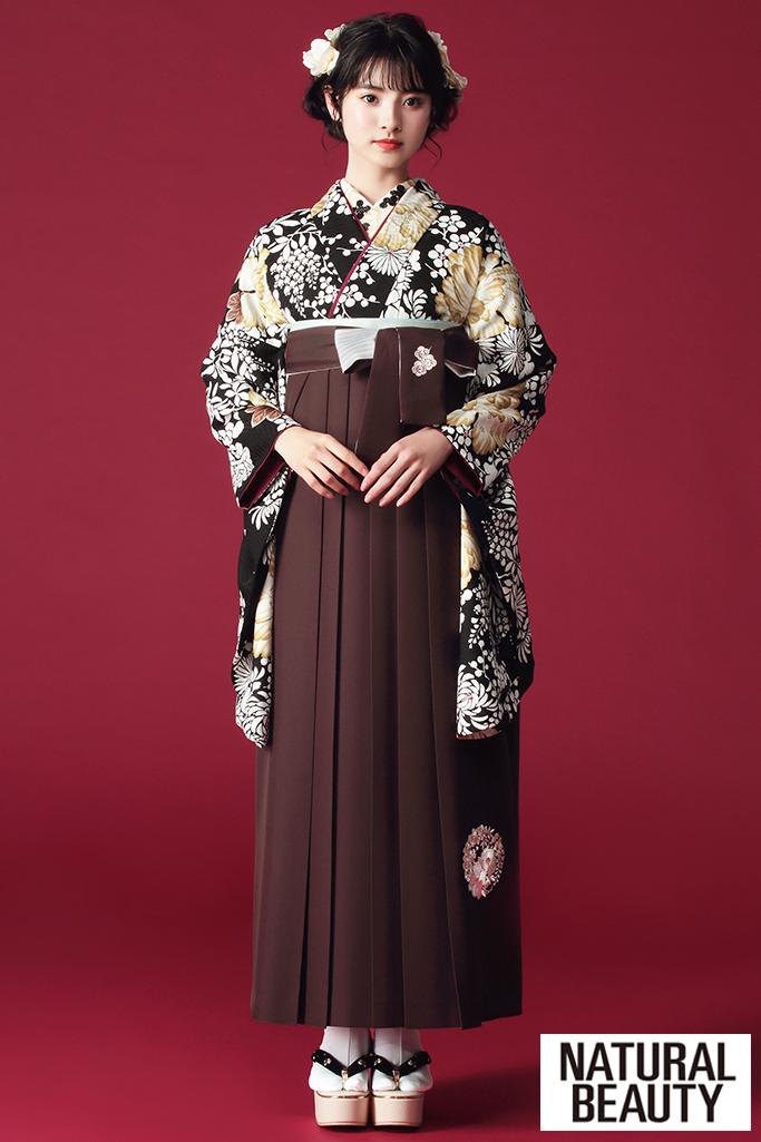 【卒業式袴レンタル/通販可】かっこいいNATURAL BEAUTY(ナチュラルビューティー) 黒/白/ゴールド(金色) R21045
