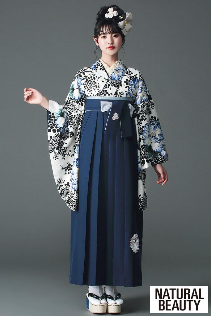 【卒業式袴レンタル/通販可】大人っぽいNATURAL BEAUTY(ナチュラルビューティー) 黒/白/ブルー(青色) R21046