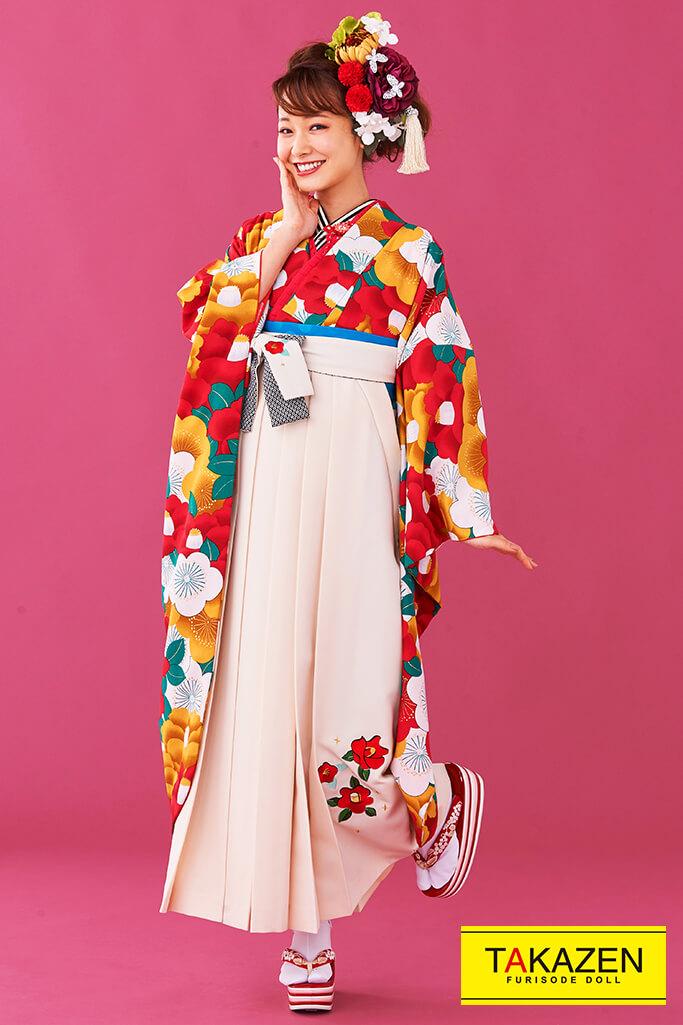 【卒業式袴レンタル/通販可】人気個性的レトロモダン(流行り椿柄) 赤/オレンジ/白 R30001
