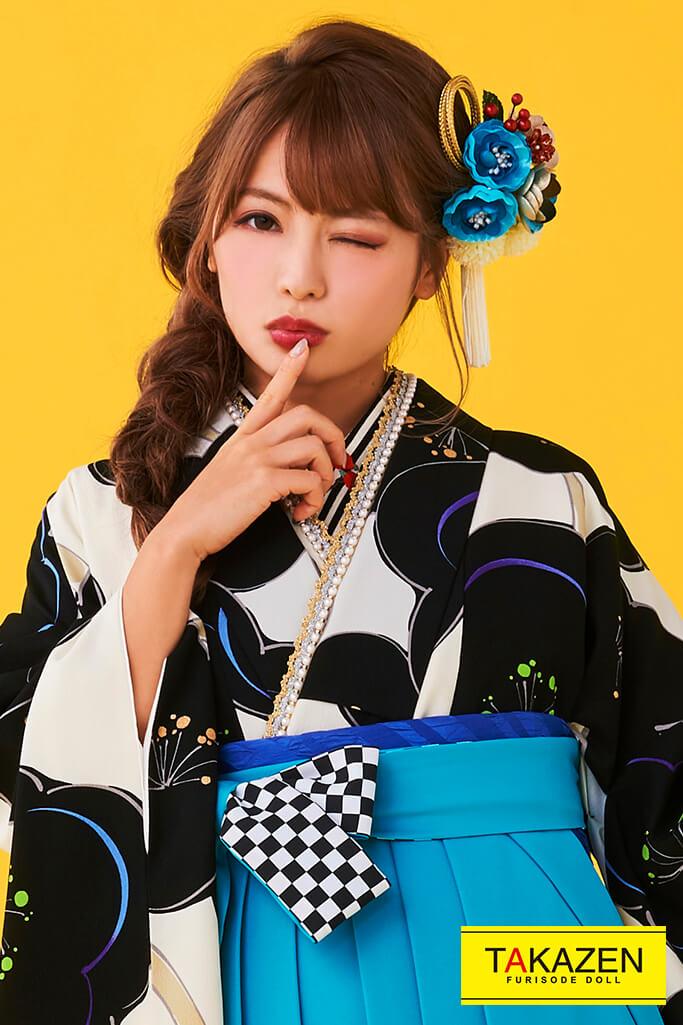 【卒業式袴レンタル/通販可】人気個性的レトロモダン(可愛い梅柄) 白/紺/ブルー(青色) R30002