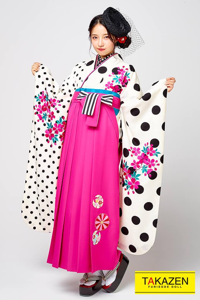 【卒業式袴レンタル/通販可】人気個性的レトロモダン(可愛いドット柄) 白/ピンク R30003