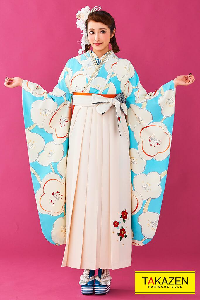 【卒業式袴レンタル/通販可】人気個性的レトロモダン(可愛い梅柄) 白/ブルー(水色) R30004